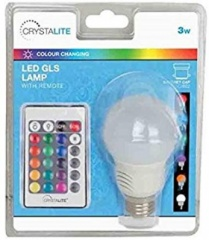 Status 3w - Crystalite - LED Colour Changing - GLS - BC - 16 Colour Modes / 4 Transition Modes - Remote Control - 5m Range - 1 pk