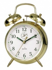 Acctim 'Saxon' Brass Keywound Double Bell Alarm Clock (12628)
