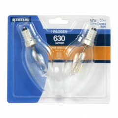 Status 42w = 55w - Halogen - Candle - SES - Clear - 2pk