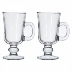 Pasabahce 2PC Clear Glass Irish Coffee Mug 230CC 7 3/4 OZ