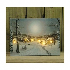 **** Kingfisher SNOWY TOWN SCENE CANVAS PRINT WITH FLICKERING LED [CANVAS4]