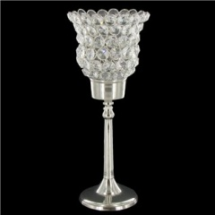 10X7 Clear Crystal Gem Round Candle Holder