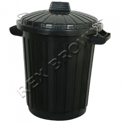 curver refuse bin with metal clip lid 70l black. Black Bedroom Furniture Sets. Home Design Ideas