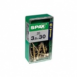SPAX 3.5MM FLAT COUNTERSUNK POZI YELLOW IN RETAIL PACK 3.5 X 30MM 20PCS