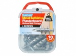 ****Plasplugs Metal Self Drive Fixings & Screws 10pk (MSDF256)