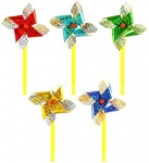 19cm FOIL WINDMILL - 5 ASST METALLIC COLOURS