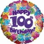 100th Birthday - Holographic Metallic Foil Balloon