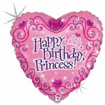 18'' Happy Birthday Princess : Holographic Metallic Foil Balloon