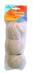 3 Rolls of Household Cotton String - 120g.