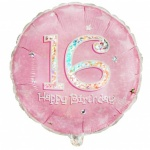 18'' Happy Birthday 16th Birthday Prismatic Foil Balloon