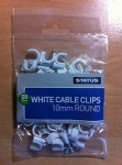 10mm - white - round cable clips - 50 pk - in poly bag - in white CDU