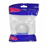 5 Mtr  Aerial coaxial lead male to male - cable 5mm OD - 1 pk - in poly bag - in white CDU