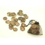 Pirate Coins In Net Drawstring Pouch ''Pirates''