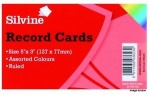 Silvine 5 X 3 Record Cards 100pcs - Assorted Colours (553AC)