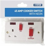 Status 1 Gang - 45 amp - Cooker Switch - 2 x neon - White