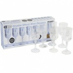 6pc Clear Crystal Cut Ps Wine Goblets