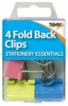Essential 4 Fold Back Clips Coloured