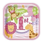 10 PInk Safari 1st Birthday 7'' Square Plate