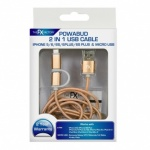 FX Powabud USB Data Cable 2 In 1 Gold