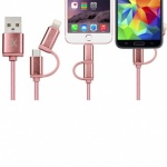 FX Powabud USB Data Cable 2 In 1 Rose Gold