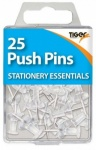 Essentials 25 Push Pins Clear
