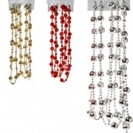 16mm x 2.7M 3 Asst Disco Bead Garland Red Gold Silver