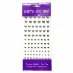 Adhesive Gemstones Heart Silver (87 Pieces)