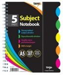 5 Part Subject Notebook: 125 sheets