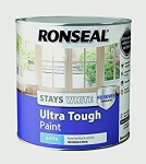 Ronseal Stays White Ultra Tough Trim Paint White Satin 2.5Ltrs