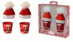 SANTA EGG CUP PAILS WITH EGG COSYS - SET OF 2