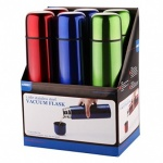 'COLOURS' SS 1ltr BULLET FLASK, pk6,ASSORTED