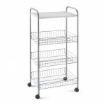 ROLLING CART ''ATLANTA'' 3 WIRE BASKET AND PP TRAY