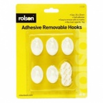 Rolson 5Pcs Removable Adhesive Plastic Hook 61320