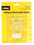 Rolson 5Pcs Removable Adhesive Metal Hooks 61332