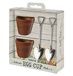 Flower Pot Set 2 Egg Cups and Spoons