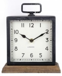 21X18CM METAL CLOCK WOOD BASE