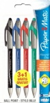 Paper Mate Flexgrip Elite RT Retractable Ball Pen Large Tip 1.4mm - Assorted Standard Colours - Pack of 3 + 1