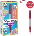 Paper Mate Flair Ultra Fine Fibre Tip Pen - Red -  Box of 12