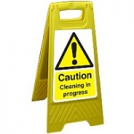 CORRUGATED PLASTIC DOUBLE SIDED WET FLOOR SIGN WITH WARNING LOGO