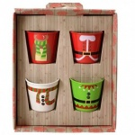 SET OF 4 XMAS EGG CUPS