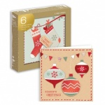 6 HANCRAFTED CARDS- STOCKINGS & BAUBLES