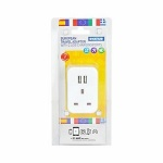 European Plug Through Travel Adaptor with 2 USB Ports