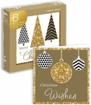 6 HANDCRAFTED CARDS- TREES & BAUBLES