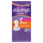 Always Dailies Singles Individual Pocket Liner Fresh Normal 20s - - Fresh Scent