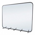 Wire Framed Wall Mirror with Five Hooks - Black