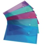 Bright Popper Wallet Transparent Assorted A5 Pack of 5