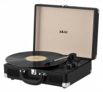 Akai Rechargeable Turntable in Faux Leather Case