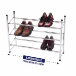 18 pair 3 tier expandable/ stack shoe rack