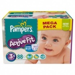 88x Pampers Active Fit, Size S3 (5kg-10kg), (packed in 2*44s