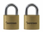 SQUIRE 20mm Brass Padlock Twin Pack Branded Defender